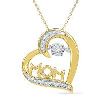 10kt Yellow Gold Womens Round Diamond Mom Mother Heart Love Pendant 1/10 Cttw