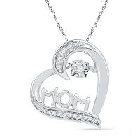 10kt White Gold Womens Round Diamond Mom Mother Heart Love Pendant 1/10 Cttw