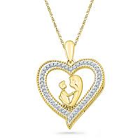 10k Yellow Gold Round Diamond Womens Heart Love Mother Child Embrace Pendant 1/5 Cttw
