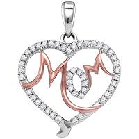 10kt White Gold Womens Round Diamond Mom Mother Heart Pendant 1/3 Cttw