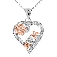 Sterling Silver Womens Round Diamond Rose-tone Mom Mother Heart Pendant 1/8 Cttw