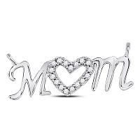 10kt White Gold Womens Round Diamond Mom Mother Heart Pendant 1/10 Cttw