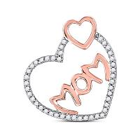 10kt Rose Gold Womens Round Diamond Mom Mother Double Heart Pendant 1/5 Cttw