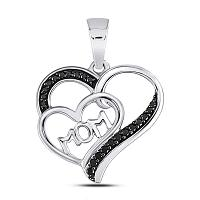 10kt White Gold Womens Round Black Color Enhanced Diamond Mom Mother Heart Pendant 1/10 Cttw