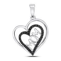 10kt White Gold Womens Round Black Color Enhanced Diamond Mom Mother Heart Pendant 1/8 Cttw