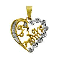 Sterling Silver Womens Round Diamond I Love Mom Heart Pendant 1/8 Cttw
