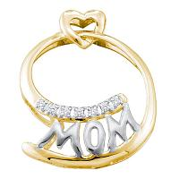 10kt Yellow Two-tone Gold Womens Round Diamond Mom Mother Pendant 1/20 Cttw