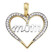10k Yellow Gold Diamond Mom Mother Heart Love Anniversary Pendant 1/8 Cttw