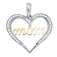 10kt Two-tone Gold Womens Round Diamond Mom Mother Pendant 1/10 Cttw