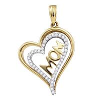 10kt Yellow Gold Womens Round Diamond Mom Mother Heart Pendant 1/5 Cttw