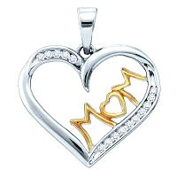 Sterling Silver White Diamond Mom Mother Womens Heart Pendant 1/6 Cttw