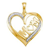 10kt Yellow Gold Womens Round Diamond Heart Love Mom Mother Pendant 1/12 Cttw