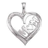 10kt White Gold Womens Diamond Mom Mother Pendant 1/12 Cttw
