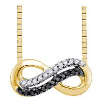 10kt Yellow Gold Womens Round Black Color Enhanced Diamond Infinity Pendant Necklace 1/10 Cttw