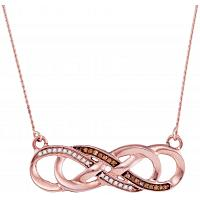 10kt Rose Gold Womens Round Cognac-brown Color Enhanced Diamond Infinity Pendant Necklace 1/8 Cttw