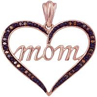 10k Rose Gold Womens Red Color Enhanced Diamond Mom Heart Love Mother\'s Day Pendant 1/12 Cttw