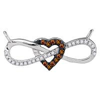 10kt White Gold Womens Round Cognac-brown Color Enhanced Diamond Infinity Heart Pendant Necklace 1/6 Cttw