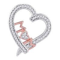 10kt Two-tone Gold Womens Round Diamond Mom Mother Heart Pendant 1/8 Cttw