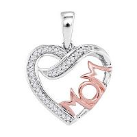 10kt Two-tone Gold Womens Round Diamond Mom Heart Pendant 1/12 Cttw