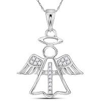 14kt White Gold Womens Round Diamond Angel Cross Religious Pendant 1/20 Cttw