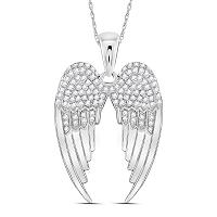 Sterling Silver Womens Round Diamond Angel Wings Pendant 3/8 Cttw