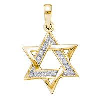 10kt Yellow Gold Womens Round Diamond Star Magen David Jewish Pendant 1/10 Cttw