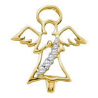10kt Yellow Gold Womens Round Diamond Praying Guardian Angel Pendant 1/20 Cttw