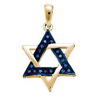 10k Yellow Gold Blue Color Enhanced Diamond Womens Star Magen David Religious Heritage Pendant 1/10 Cttw