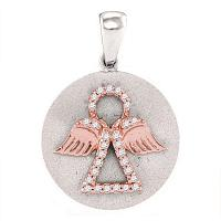 10kt Two-tone White Gold Womens Round Diamond Angel Medallion Pendant 1/8 Cttw