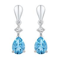 Sterling Silver Womens Pear Lab-Created Blue Topaz Dangle Earrings 1-5/8 Cttw