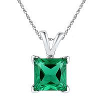 Sterling Silver Womens Princess Lab-Created Emerald Solitaire Pendant 1-1/3 Cttw