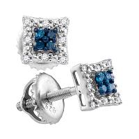 Sterling Silver Womens Round Blue Color Enhanced Diamond Square Cluster Screwback Earrings 1/10 Cttw