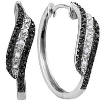 Sterling Silver Womens Round Black Color Enhanced Diamond Hoop Earrings 1/5 Cttw