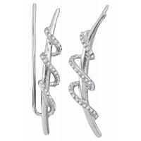Sterling Silver Womens Round Diamond Spiral Climber Earrings 1/4 Cttw