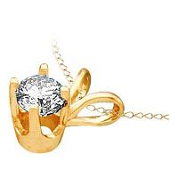 14kt Yellow Gold Womens Round Diamond Solitaire Pendant 1/4 Cttw