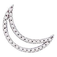 14kt White Gold Womens Round Diamond Crescent Moon Outline Pendant 1/6 Cttw