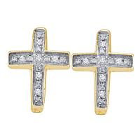 Yellow-tone Sterling Silver Womens Round Diamond Cross Huggie Hoop Earrings 1/20 Cttw