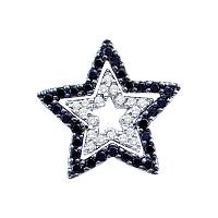 14kt White Gold Womens Round Black Color Enhanced Diamond Star Frame Cutout Pendant 1/3 Cttw