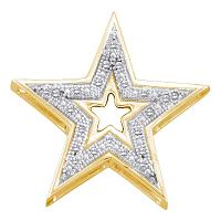 10kt Yellow Gold Womens Round Diamond Simple Star Cutout Pendant 1/20 Cttw