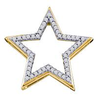 10kt Yellow Gold Womens Round Diamond Star Frame Outline Pendant 1/6 Cttw
