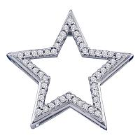 10kt White Gold Womens Round Diamond Star Frame Outline Pendant 1/6 Cttw