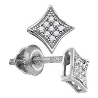 Sterling Silver Womens Round Diamond Square Kite Cluster Earrings 1/20 Cttw