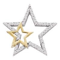 10kt Yellow Gold Womens Round Diamond Two-tone Double Star Outline Pendant 1/6 Cttw