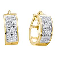 Yellow-tone Sterling Silver Womens Round Diamond Huggie Earrings 1/4 Cttw