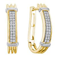 Yellow-tone Sterling Silver Womens Round Pave-set Diamond Oblong Double Row Hoop Earrings 1/6 Cttw