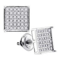 Sterling Silver Womens Round Diamond Square Cluster Earrings 1/4 Cttw