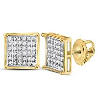 Yellow-tone Sterling Silver Womens Round Diamond Square Earrings 1/4 Cttw