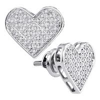 Sterling Silver Womens Round Diamond Heart Love Cluster Earrings 1/4 Cttw