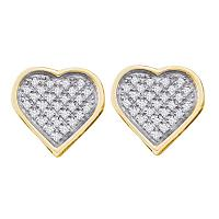 Yellow-tone Sterling Silver Womens Round Diamond Heart Cluster Stud Earrings 1/8 Cttw