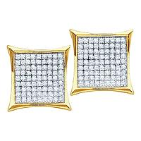 Yellow-tone Sterling Silver Womens Round Diamond Square Kite Cluster Stud Earrings 1/10 Cttw